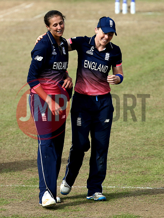 Jenny Gunn of England Women celebrates with Heather Knight of England Women as England beat Australia in the Women's World Cup at Bristol - Mandatory by-line: Robbie Stephenson/JMP - 09/07/2017 - CRICKET - Bristol County Ground - Bristol, United Kingdom - England v Australia - ICC Women's World Cup match 19