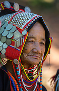 woman, traditional dress, Akha; Chiang Mai; Hill Tribe Village; Thailand