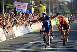 Zdenek Stybar (CZE) Deceuninck-Quick Step celebrates as he crosses the finish line to win from Greg Van Avermaet (BEL) CCC Team and Wout Van Aert (BEL) Team Jumbo-Visma at the end of the 2019 E3 Harelbeke Binck Bank Classic 2019 running 203.9km from Harelbeke to Harelbeke, Belgium. 29th March 2019.<br /> Picture: Eoin Clarke | Cyclefile<br /> <br /> All photos usage must carry mandatory copyright credit (© Cyclefile | Eoin Clarke)