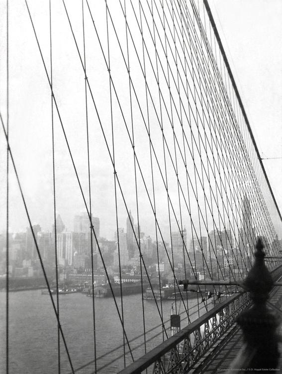Manhattan skyline from Brooklyn Bridge, New York City, 1921