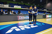 ANZ Future Captains Zoe Taylor aged 10 and Emma Molesworth aged 10 pose for a photo prior to the match. 2018 ANZ Premiership netball match, Mystics v Pulse at The Trusts Arena, Auckland, New Zealand. 3 June 2018 © Copyright Photo: Anthony Au-Yeung / www.photosport.nz