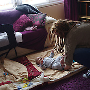 """Eventually, Samantha turned to her mother for help. She and the baby slept on the couch and her older sons shared the bedroom with Samantha's mother. Samantha was offered two hostel rooms by Newham Council but she says that she """"had to run away"""" as the rooms were """"filthy to the point that the bed had unwashed and stained covers, broken wardrobe and mold everywhere."""""""