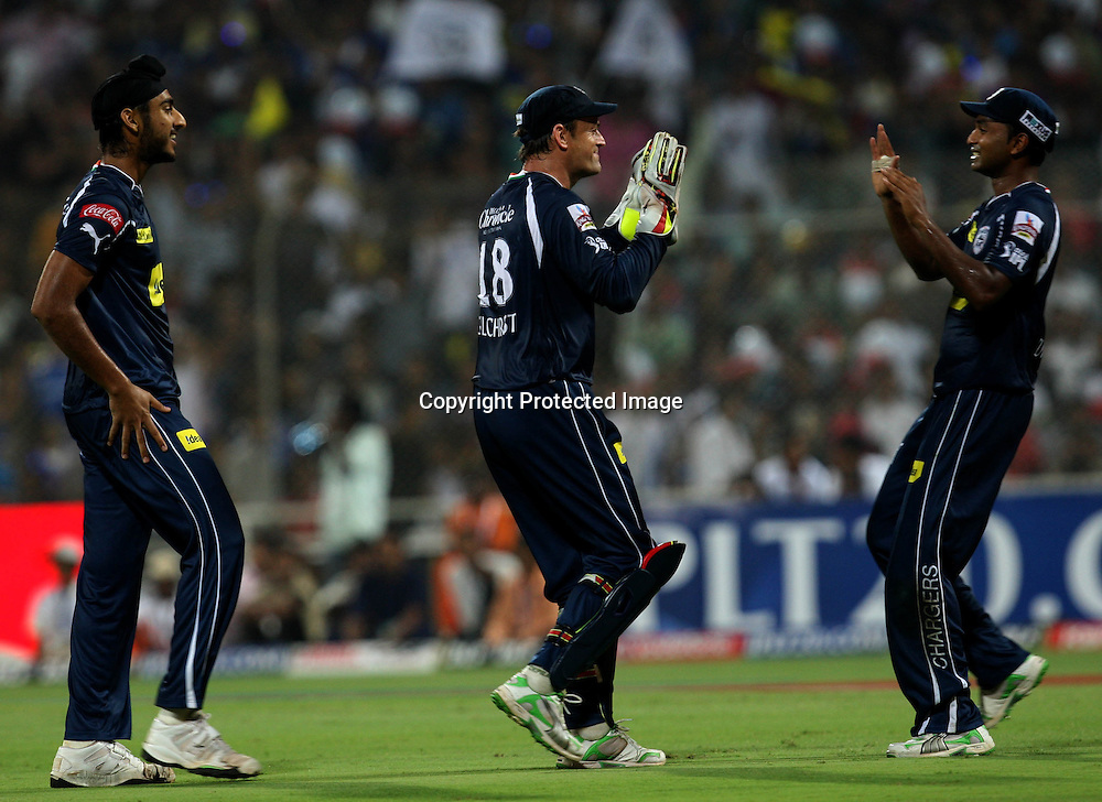 Deccan Chargers Bowler Jaskaran Singh Celebrates With Team Mates Mumbai Indians Batsman Kieron Pollard Wicket During The Deccan Chargers vs Mumbai Indians, 25th Twenty20 match Indian Premier League- 2009/10 season Played at Dr DY Patil Sports Academy, Mumbai 28 March 2010 - day/night (20-over match)