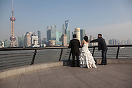 China, Shanghai. shooting chinese wedding on the Bund promenade