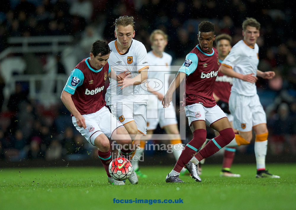 Jarrod Bowen of Hull City U21's puts Josh Cullen of West Ham United U21's under pressure during the U21 Premier League Cup Final first leg match at the Boleyn Ground, London<br /> Picture by Alan Stanford/Focus Images Ltd +44 7915 056117<br /> 25/04/2016