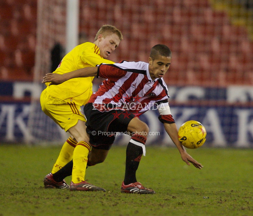 Sheffield, England - Thursday, February 15, 2007: Liverpool's Stephen Darby and Sheffield United's Kyle Naughton during the FA Youth Cup Quarter-Final match at Bramall Lane. (Pic by David Rawcliffe/Propaganda)
