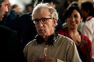 Roma 9 Agosto  2011.Il set del  film The Bob Decameron di Woody Allen, a Piazza della Repubblica.Woody Allen sul set.