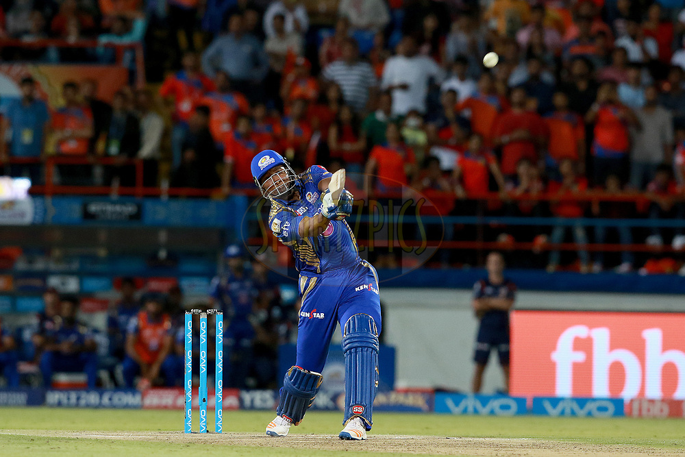 Kieron Pollard during match 35 of the Vivo 2017 Indian Premier League between the Gujarat Lions and the Mumbai Indians  held at the Saurashtra Cricket Association Stadium in Rajkot, India on the 29th April 2017<br /> <br /> Photo by Rahul Gulati - Sportzpics - IPL