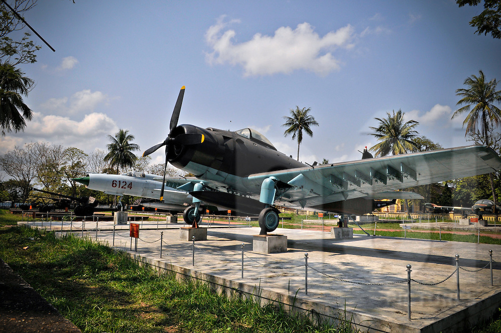 Airplane relic is set up in war museum of Hue, Vietnam, Southeast Asia
