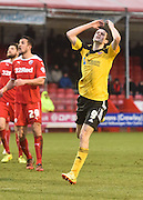 Jamie Murphy shows his frustration after Sheffield United come close to scoring during the Sky Bet League 1 match between Crawley Town and Sheffield Utd at Broadfield Stadium, Crawley, England on 28 February 2015. Photo by David Charbit.