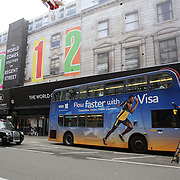Usain Bolt on the side of a London Bus advertising Visa in London City centre as London prepares for the  London 2012 Olympic games, UK. 14th July 2012. Photo Tim Clayton