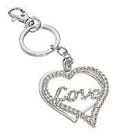 silver and diamond heart pendant on a keychain