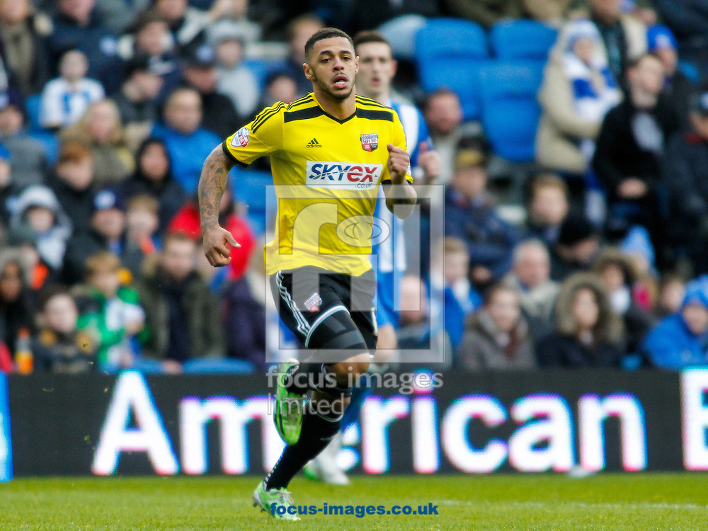 Andre Gray of Brentford during the Sky Bet Championship match between Brighton and Hove Albion and Brentford at the American Express Community Stadium, Brighton and Hove<br /> Picture by Mark D Fuller/Focus Images Ltd +44 7774 216216<br /> 17/01/2015