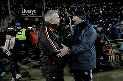 Stephen Rochford and Jim Gavin shake hands after the Mayo v Dublin league match at McHale park.<br /> Pic Conor McKeown