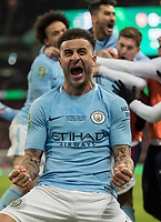 Football - 2018 Carabao (EFL/League) Cup Final - Manchester City vs. Arsenal<br /> <br /> Kyle Walker (Manchester City) shows what it feels like to beat his old North London rivals at Wembley.<br /> <br /> COLORSPORT/DANIEL BEARHAM