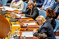 British Prime Minister Theresa May speaks to the United Nations Security Council meeting on the sidelines of the General Debate of the General Assembly of the United Nations at United Nations Headquarters in New York, New York, USA, 26 September 2018. The General Debate of the 73rd session began on 25 September 2018.<br /> 26 Sep 2018 ROBIN UTRECHT