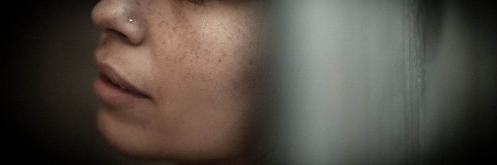 Panorama detail of womans face