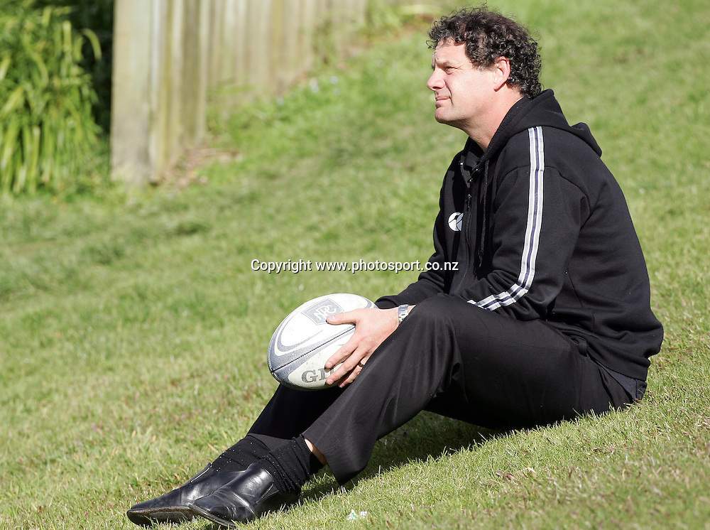 Head coach Allan Pollock looks on from the bank during North Harbour rugby training at the Marist Club grounds, North Shore, New Zealand on Wednesday 30 August, 2006. Photo: Hannah Johnston/PHOTOSPORT<br /><br /><br /><br />300806