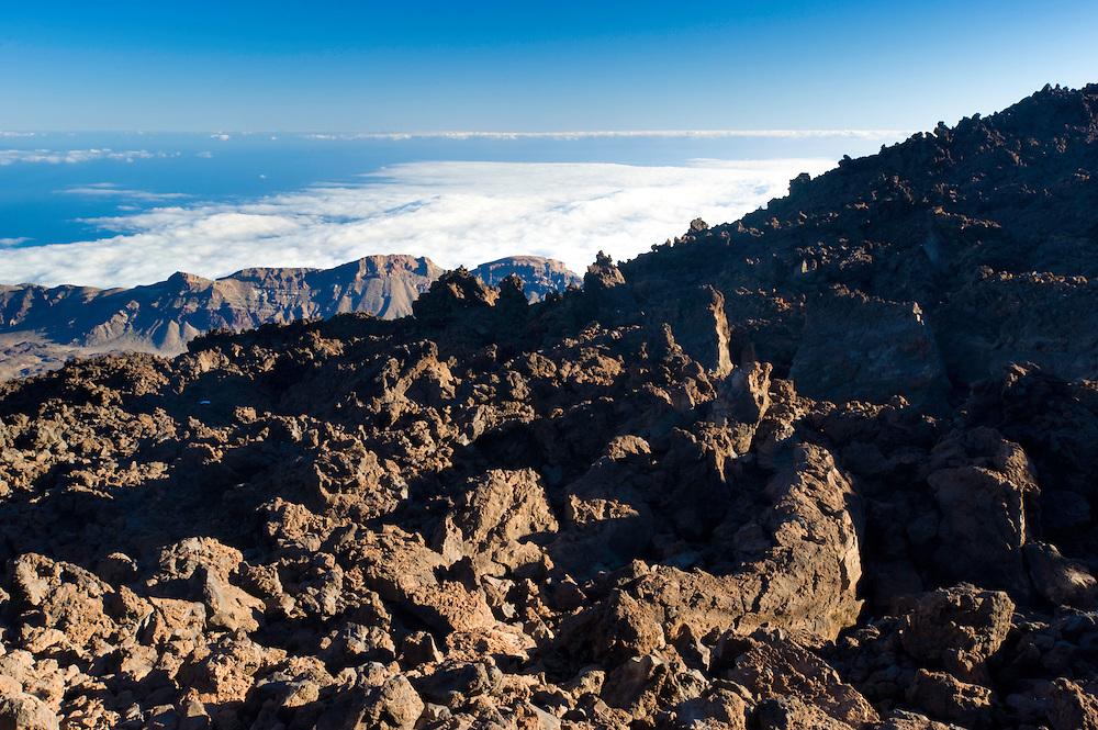 Lava fields in The Teide volcano (the highest mountain of Spain, 3.718 m), at sunrise. Teide National Park, Tenerife Island, Canary Islands, Spain.