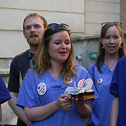 Department of Health, London, England, UK. 5th July 2017. Nurses found an NHS 69th Birthday monies tree deliver to Jemery Hunt, Theresa May liar found a monies tree for DUP and denial Doctors and nurses payrise.