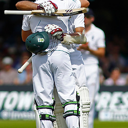 19/08/2012 London, England. South Africa's AB de Villiers celebrates with South Africa's Hashim Amla during the third Investec cricket international test match between England and South Africa, played at the Lords Cricket Ground: Mandatory credit: Mitchell Gunn