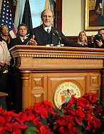 TRENTON, NJ - DECEMBER 17:  New Jersey Governor Jon S. Corzine speaks with the media after signing legislation to eliminate the death penalty and replace it with life imprisonment without eligibility for parole December 17, 2007 at the State House in Trenton, New Jersey. .New Jersey is the first state to eliminate the death penalty..(Photo by William Thomas Cain/Getty Images)