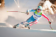 Julia Mancuso of the United States competes in the Women's Downhill on Franz's Downhill course during the 2010 Vancouver Winter Olympics in Whistler, British Columbia, Wednesday, Feb. 17, 2010.