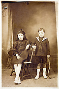 vintage studio portrait of two children