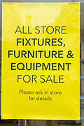 A yellow all store fixtures, furniture and equipment for sale sign outside <br /> the Folkestone Debenhams store in the final few days of the 'Everything Must Go' sale before closing down in Folkestone, Kent. United Kingdom. The company announced the closure of 19 stores across the UK after going into administration in 2019.  (photo by Andrew Aitchison / In pictures via Getty Images)