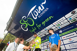 Second placed Giovanni Visconti (ITA) of Neri Sottoli Selle Italia KTM, winner Diego Ulissi (ITA) of UAE Team Emirates and third placed Aleksandr Vlasov (RUS) of Gazprom - Rusvelo celebrate at trophy ceremony after the 5th Stage of 26th Tour of Slovenia 2019 cycling race between Trebnje and Novo mesto (167,5 km), on June 23, 2019 in Slovenia. Photo by Vid Ponikvar / Sportida
