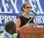 Licia Green comments during groundbreaking ceremonies for the Mickey Leland College Preparatory Academy, April 16, 2015.