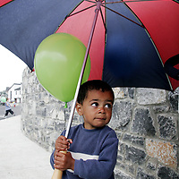 Mohammed Abdullah was ready for the elements at the official opening of the Cul na Greine Housing Scheme in Shannon on Thursday morning.<br /> <br /> Photograph by Yvonne Vaughan.
