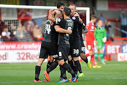 Peterborough United's Conor Washington celebrates scoring his sides fourth goal - photo mandatory by-line David Purday JMP- Tel: Mobile 07966 386802 - 11/10/14 - Crawley Town v Peterbourgh United - SPORT - FOOTBALL - Sky Bet Leauge 1  - London - Checkatrade.com Stadium