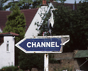 Molesey, Great Britain.  Stork sitting on the sign for the channel. 1992 British International Rowinig Training on the Molesey Reach, Surrey,  [Mandatory Credit. Peter Spurrier/Intersport Images] +1992 +Molesey +Henley 1992 GBRowing Training, Molesey/Henley, United Kingdom