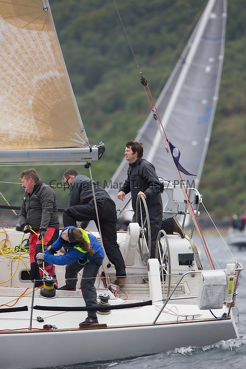 Day one of the Silvers Marine Scottish Series 2016, the largest sailing event in Scotland organised by the  Clyde Cruising Club<br /> Racing on Loch Fyne from 27th-30th May 2016<br /> <br /> GBR1121L, Tangaroa, Eliz &amp; Des Balmforth, CCC, Pronavia 38<br /> <br /> <br /> Credit : Marc Turner / CCC<br /> For further information contact<br /> Iain Hurrel<br /> Mobile : 07766 116451<br /> Email : info@marine.blast.com<br /> <br /> For a full list of Silvers Marine Scottish Series sponsors visit http://www.clyde.org/scottish-series/sponsors/