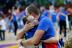 Klemen Prepelic of Slovenia and Raso Nesterovic celebrating after winning during the Final basketball match between National Teams  Slovenia and Serbia at Day 18 of the FIBA EuroBasket 2017 at Sinan Erdem Dome in Istanbul, Turkey on September 17, 2017. Photo by Vid Ponikvar / Sportida