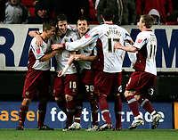 Photo: Tom Dulat/Sportsbeat Images.<br /> <br /> Charlton Athletic v Burnley. Coca Cola Championship. 01/12/2007.<br /> <br /> Burnley's players celebrate Andy Gray's (second left) penalty.