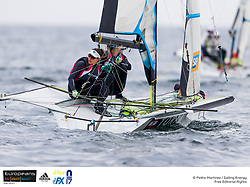 """From 27th of July to 4th of August the Kieler Yacht-Club e.V. host the 49er, 49er FX and Nacra17 Mix European Championships. Around 400 sailors from 39 nations will meet in Kiel on their path towards Tokyo 2020. This time, the Nacra17 can for the first time show their ability """"to fly"""" with the new foils in a regatta."""