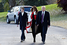 President Trump with First Lady Melania and son Barron depart the White House - 20 Nov 2018