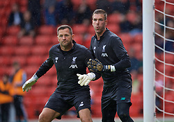 SHEFFIELD, ENGLAND - Thursday, September 26, 2019: Liverpool's goalkeeping coach John Achterberg (L) and goalkeeper Adrián San Miguel del Castillo during the pre-match warm-up before the FA Premier League match between Sheffield United FC and Liverpool FC at Bramall Lane. (Pic by David Rawcliffe/Propaganda)