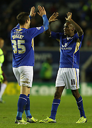 Leicester City's Lloyd Dyer celebrates the victory with Leicester City's David Nugent - Photo mandatory by-line: Matt Bunn/JMP - Tel: Mobile: 07966 386802 29/10/2013 - SPORT - FOOTBALL - King Power Stadium - Leicester City - Leicester City v Fulham - Capital One Cup - Forth Round