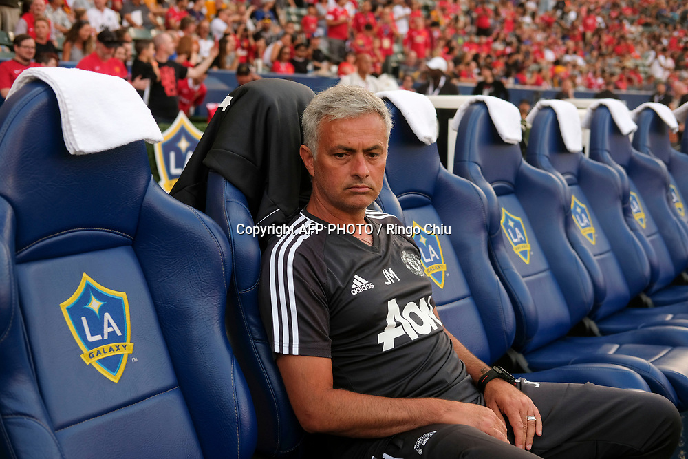Manchester United head coach Mourinho in the game against Los Angeles Galaxy during the national friendly soccer game at StubHub Center on July 15, 2017 in Carson, California.   AFP PHOTO / Ringo Chiu