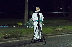 © Licensed to London News Pictures. 14/12/2017. South Ockendon, UK. Police forensics at the scene of a murder in the Dilkes Park area of Such Ockendon in Essex where a young man died after being assaulted by two men who then made off in a car. Photo Credit Simon Ford/LNP
