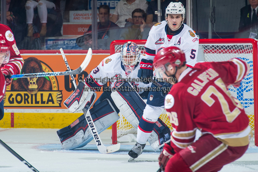 REGINA, SK - MAY 27: Max Paddock #33 of Regina Pats defends the net against the Acadie-Bathurst Titan at the Brandt Centre on May 27, 2018 in Regina, Canada. (Photo by Marissa Baecker/CHL Images)