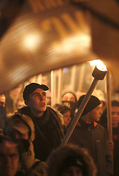 October 14, 2017 - Kyiv, Ukraine - Supporters of Ukrainian far-right parties and movements carry torches  during a demonstration to mark Fatherland Defender Day in central Kiev on October 14, 2017. Thousands of Ukrainian nationalists gathered  in the Ukrainian capital on October 14 to celebrate the 75th anniversary of the establishment of the Ukrainian Insurgent Army (UPA). The UPA fought for Ukrainian independence against the Soviet Red Army and the Nazis during the Second World War. (Credit Image: © Anatolii Stepanov via ZUMA Wire)