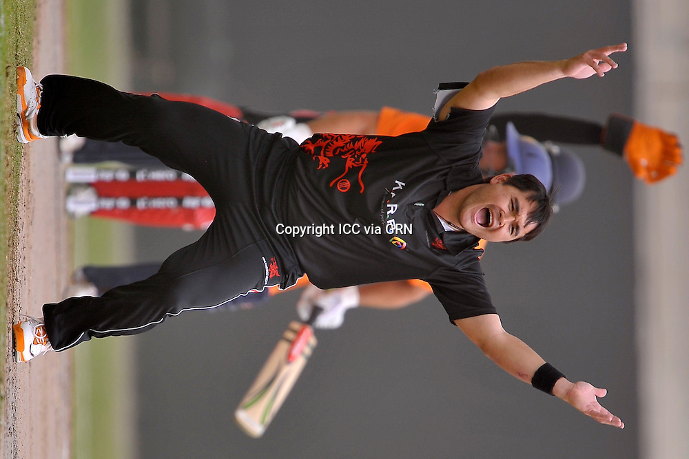 HK's John Patrick Lamsam appeals for a Dutch at the ICC World Twenty20 Qualifier UAE 2012.. Pix ICC/Thusith Wijedoru