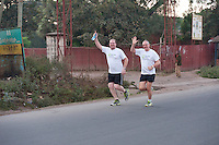 24/11/2013 repro free Paul Tannian and John Raftery  from Galway taking part in the Great Ethiopian run in Hawassa as opposed to the Capital Addis Ababa due to a security threat, part of a group of 20 from Ireland who ran the race in aid of Self Help Africa. Photo:Andrew Downes