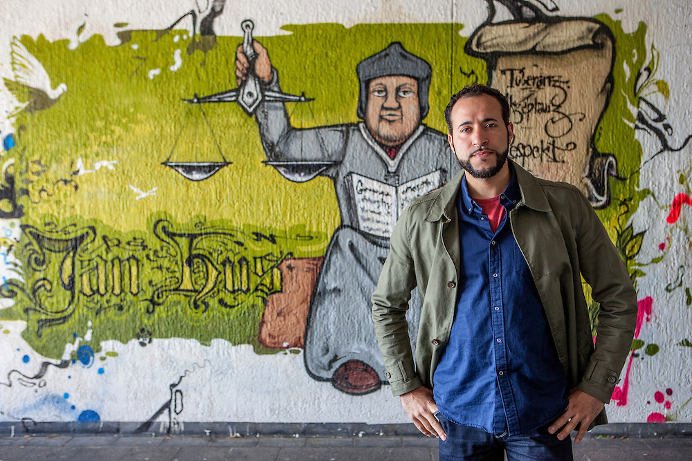 Portrait of Graffiti artist and designer Emin Hasirci who created for the city of Constance a modern interpretation of Jan Hus in form of a graffiti under the old bridge crossing the river Rhine in Constance.