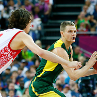08 August 2012: Lithuania Renaldas Seibutis passes the ball during Team Russia vs Team Lithuania, during the men's basketball quarter-finals, at the 02 Arena, in London, Great Britain.