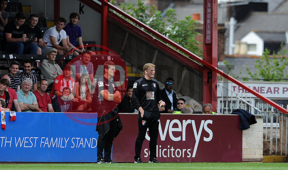 Bournemouth Manager Eddie Howe looks on - Photo mandatory by-line: Harry Trump/JMP - Mobile: 07966 386802 - 18/07/15 - SPORT - FOOTBALL - Pre Season Fixture - Exeter City v Bournemouth - St James Park, Exeter, England.